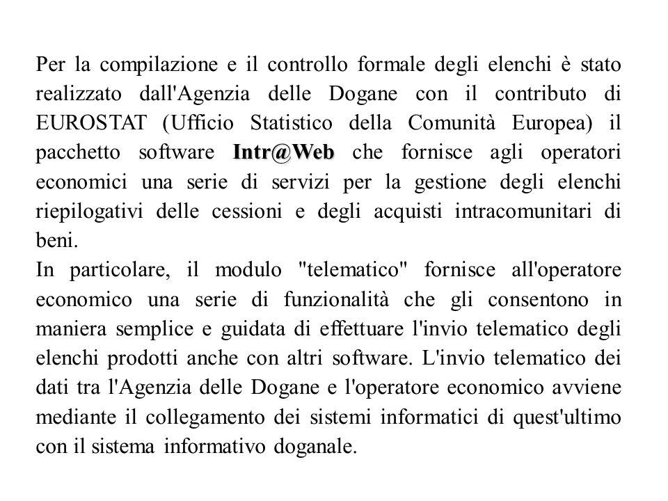 Intr@Web Per la compilazione e il controllo formale degli elenchi è stato realizzato dall'Agenzia delle Dogane con il contributo di EUROSTAT (Ufficio