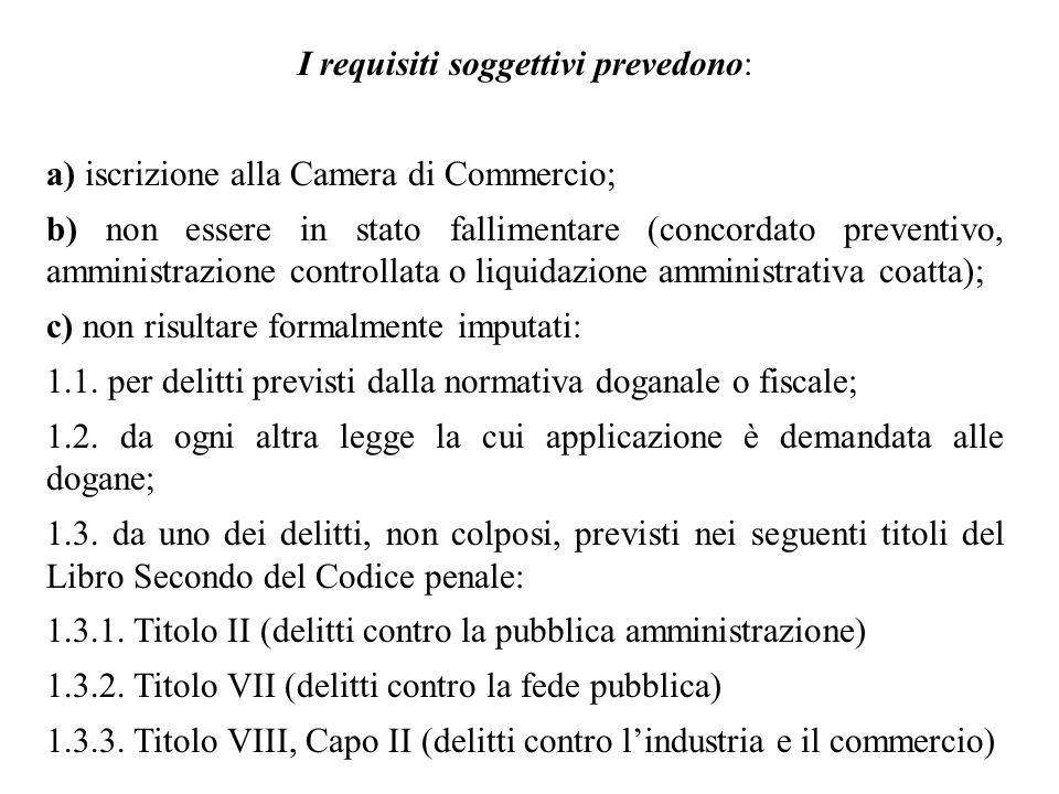 I requisiti soggettivi prevedono: a) iscrizione alla Camera di Commercio; b) non essere in stato fallimentare (concordato preventivo, amministrazione
