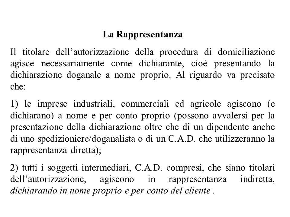La Rappresentanza Il titolare dellautorizzazione della procedura di domiciliazione agisce necessariamente come dichiarante, cioè presentando la dichia