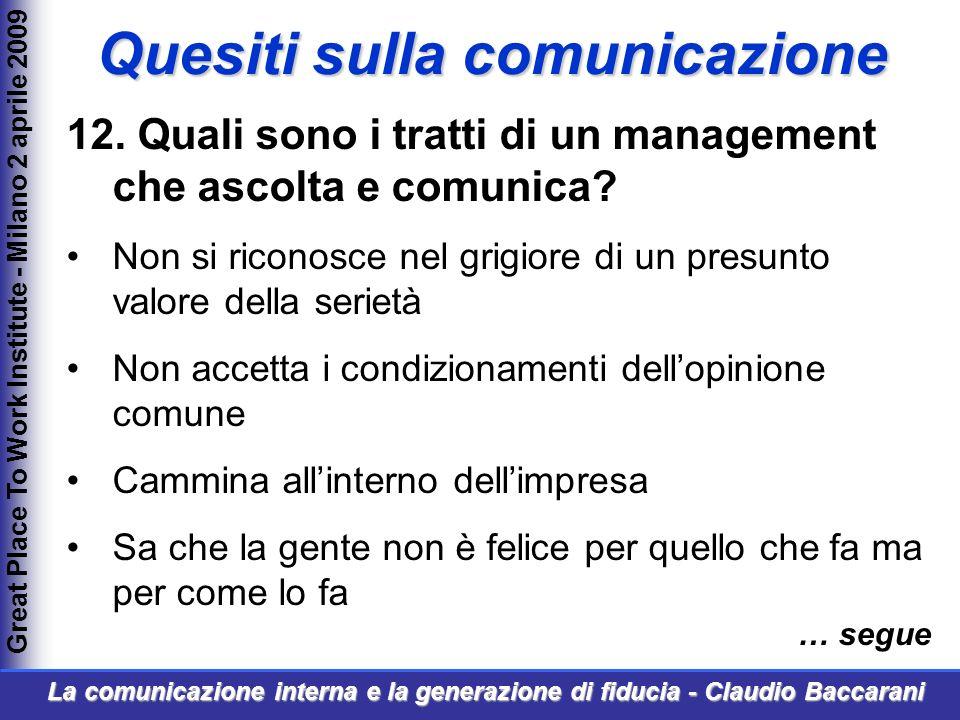 12. Quali sono i tratti di un management che ascolta e comunica.