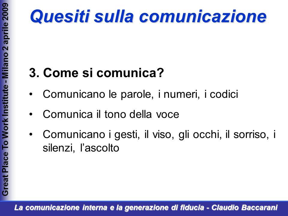 3. Come si comunica? Comunicano le parole, i numeri, i codici Comunica il tono della voce Comunicano i gesti, il viso, gli occhi, il sorriso, i silenz