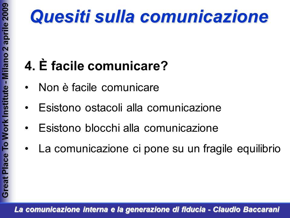 4. È facile comunicare? Non è facile comunicare Esistono ostacoli alla comunicazione Esistono blocchi alla comunicazione La comunicazione ci pone su u