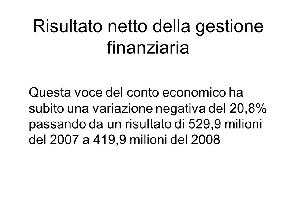 Risultato netto della gestione finanziaria Questa voce del conto economico ha subito una variazione negativa del 20,8% passando da un risultato di 529,9 milioni del 2007 a 419,9 milioni del 2008