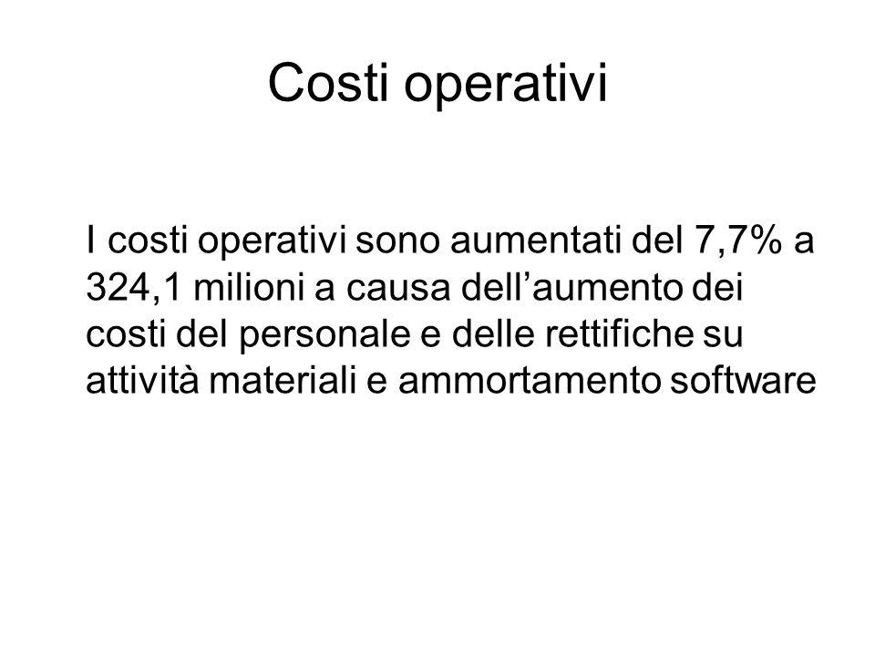 Costi operativi I costi operativi sono aumentati del 7,7% a 324,1 milioni a causa dellaumento dei costi del personale e delle rettifiche su attività materiali e ammortamento software