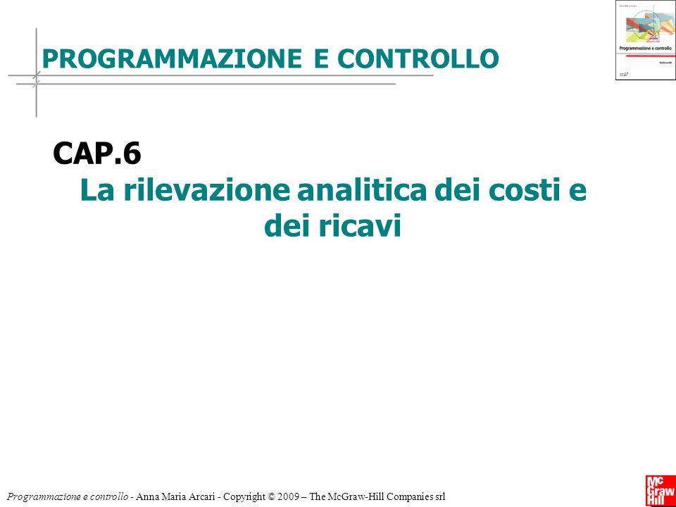 Programmazione e controllo - Anna Maria Arcari - Copyright © 2009 – The McGraw-Hill Companies srl PROGRAMMAZIONE E CONTROLLO CAP.6 La rilevazione anal