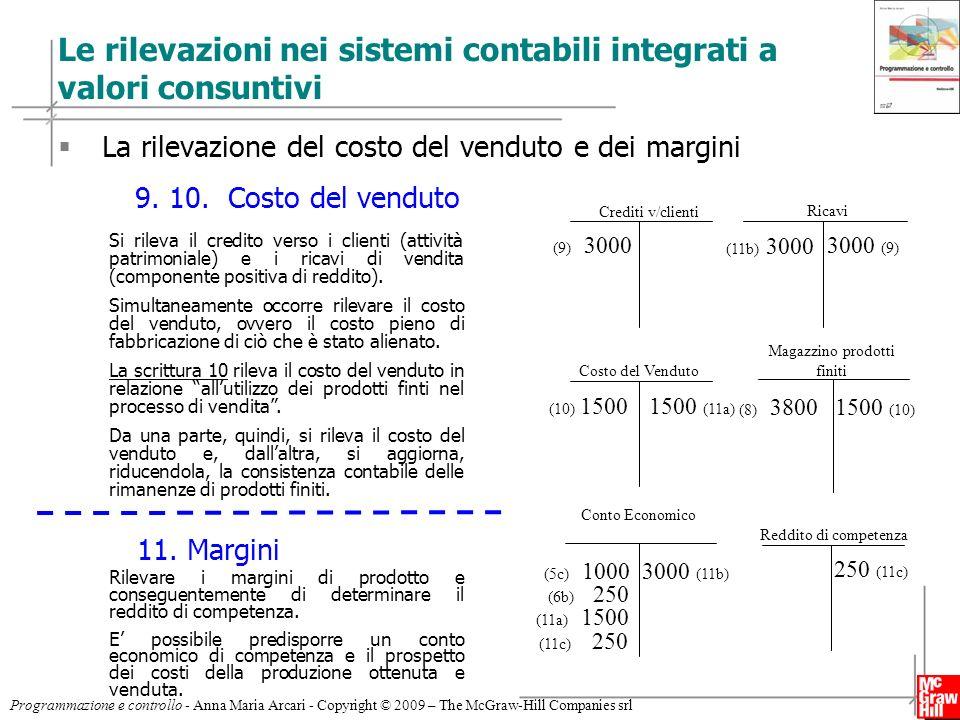 13 Programmazione e controllo - Anna Maria Arcari - Copyright © 2009 – The McGraw-Hill Companies srl Le rilevazioni nei sistemi contabili integrati a
