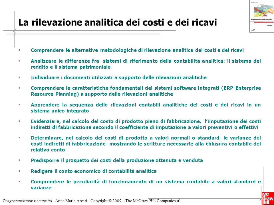 3 Programmazione e controllo - Anna Maria Arcari - Copyright © 2009 – The McGraw-Hill Companies srl I metodi di rilevazione analitica dei costi e dei ricavi (4) Sistema duplice misto (3) Non applicabile Statistico Tabellare (2) Sistema duplice contabile (1) Sistema unico integrato Partita Doppia b) Metodo di rilevazione .