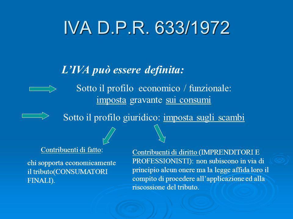 IVA D.P.R. 633/1972 LIVA può essere definita: Sotto il profilo economico / funzionale: imposta gravante sui consumi Sotto il profilo giuridico: impost