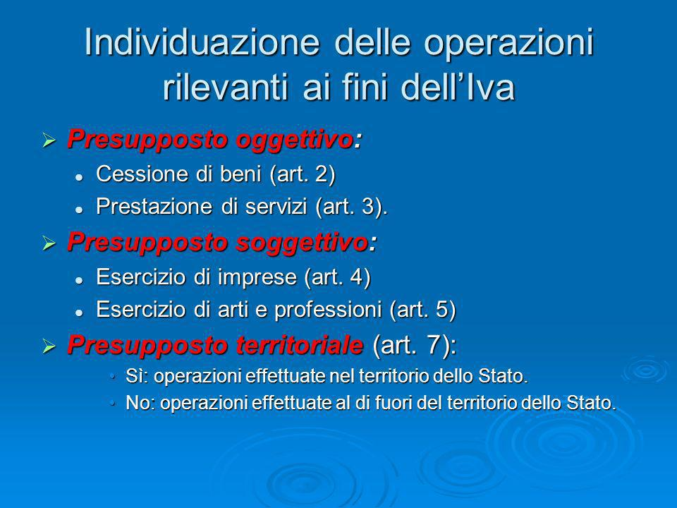 Individuazione delle operazioni rilevanti ai fini dellIva Presupposto oggettivo: Presupposto oggettivo: Cessione di beni (art. 2) Cessione di beni (ar