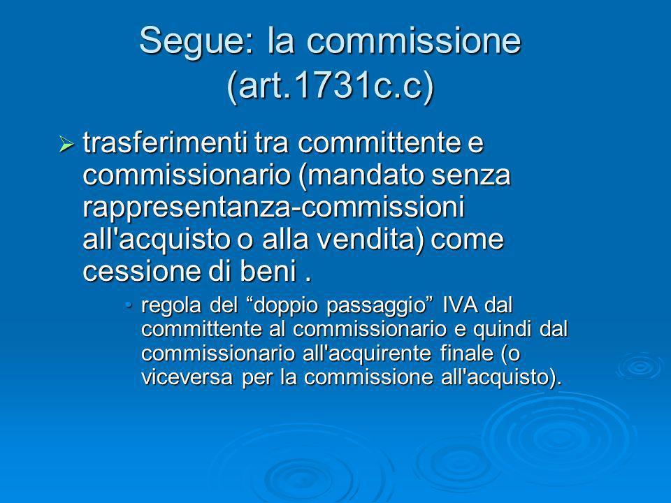Segue: la commissione (art.1731c.c) trasferimenti tra committente e commissionario (mandato senza rappresentanza-commissioni all'acquisto o alla vendi