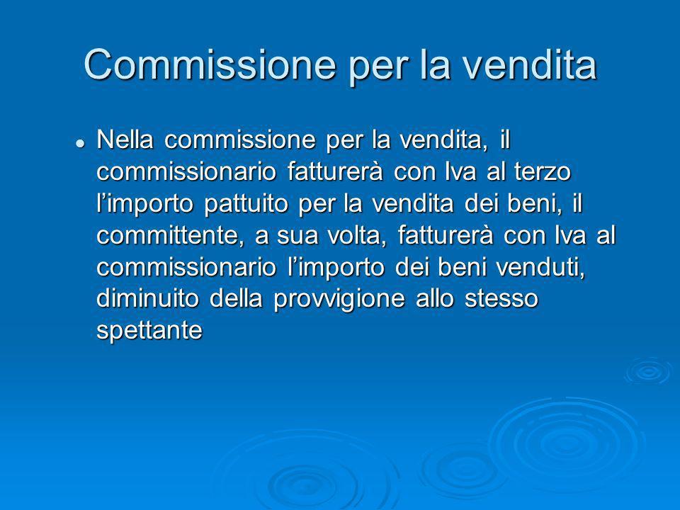 Commissione per la vendita Nella commissione per la vendita, il commissionario fatturerà con Iva al terzo limporto pattuito per la vendita dei beni, i