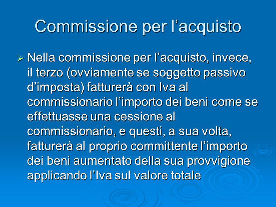 Commissione per lacquisto Nella commissione per lacquisto, invece, il terzo (ovviamente se soggetto passivo dimposta) fatturerà con Iva al commissiona