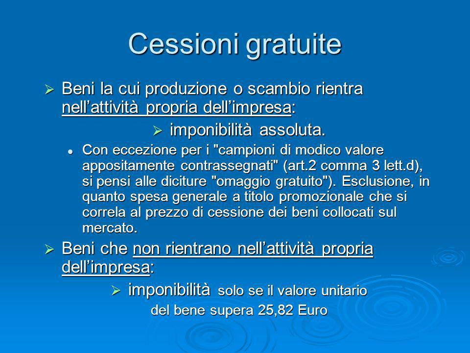Cessioni gratuite Beni la cui produzione o scambio rientra nellattività propria dellimpresa: Beni la cui produzione o scambio rientra nellattività pro