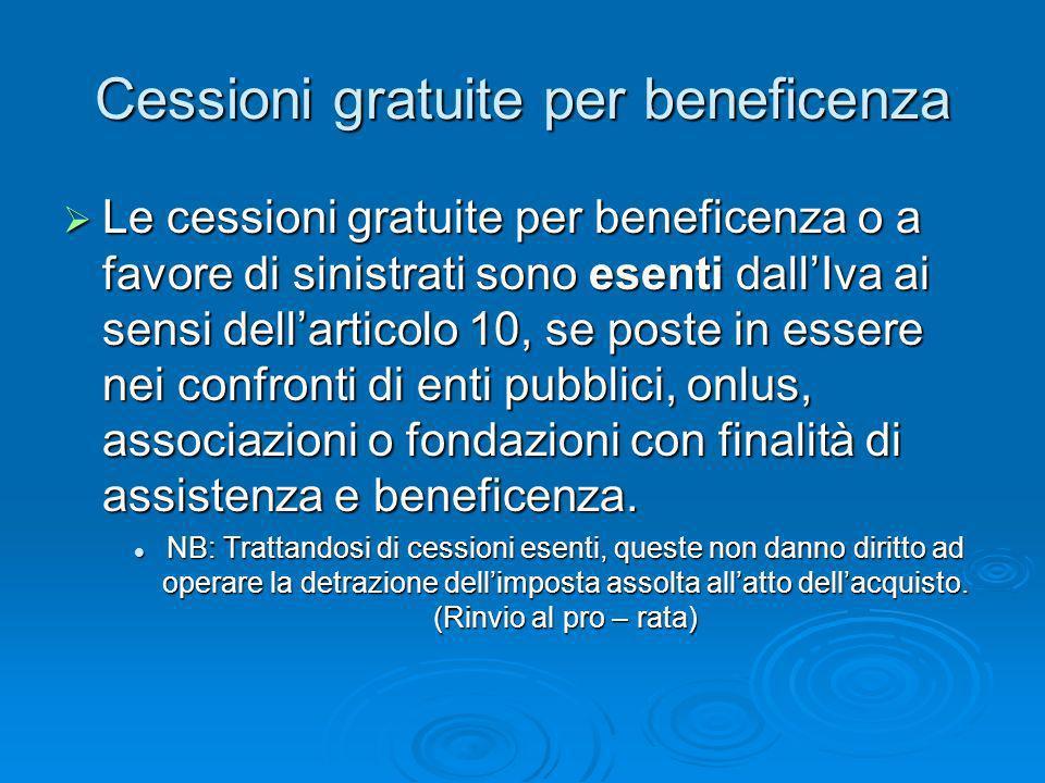 Cessioni gratuite per beneficenza Le cessioni gratuite per beneficenza o a favore di sinistrati sono esenti dallIva ai sensi dellarticolo 10, se poste