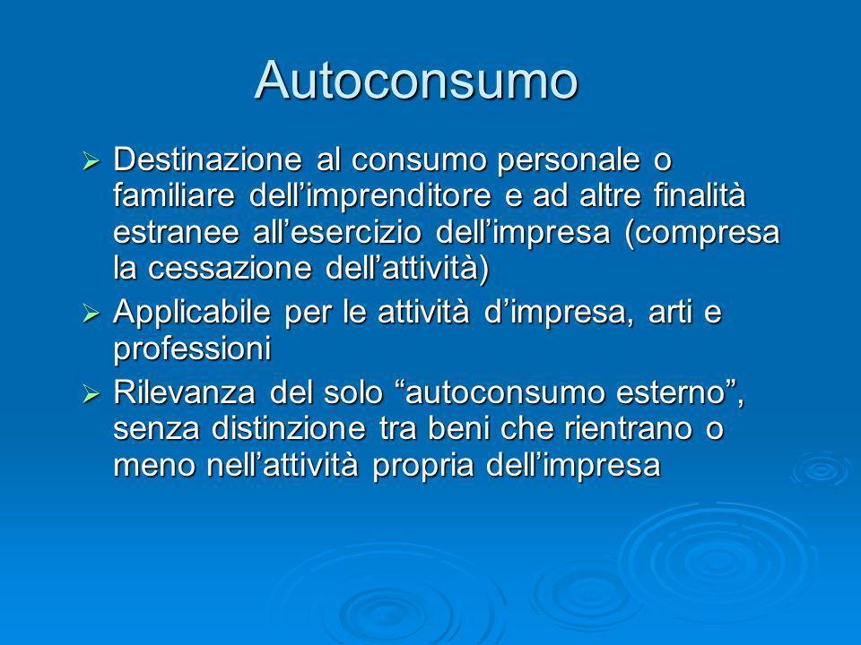 Autoconsumo Destinazione al consumo personale o familiare dellimprenditore e ad altre finalità estranee allesercizio dellimpresa (compresa la cessazio