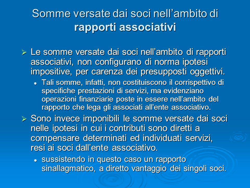 Somme versate dai soci nellambito di rapporti associativi Le somme versate dai soci nellambito di rapporti associativi, non configurano di norma ipote