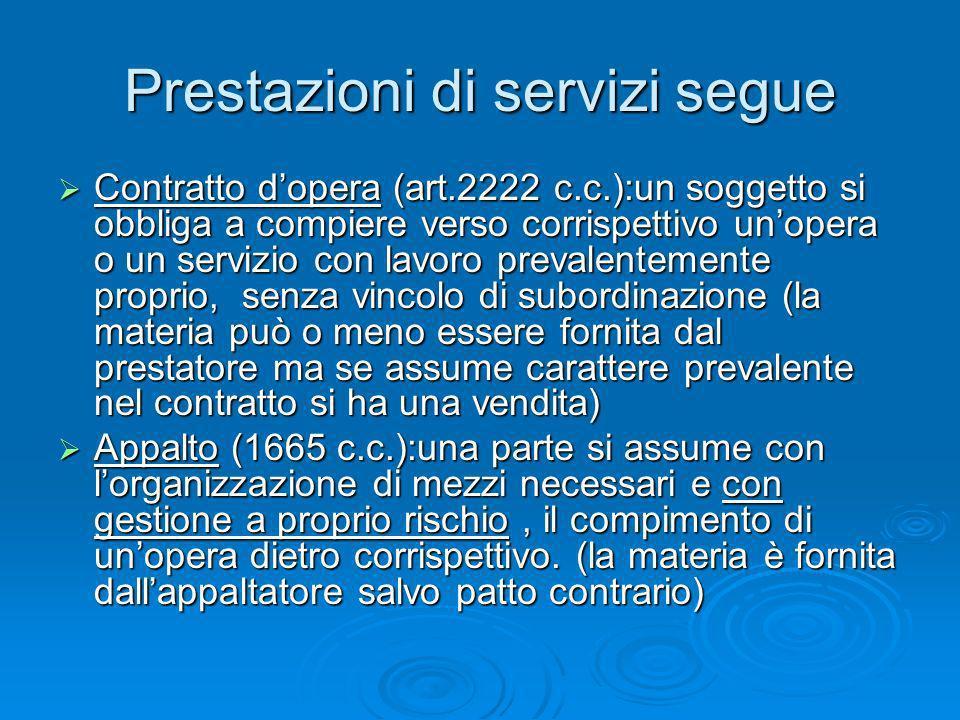 Prestazioni di servizi segue Contratto dopera (art.2222 c.c.):un soggetto si obbliga a compiere verso corrispettivo unopera o un servizio con lavoro p