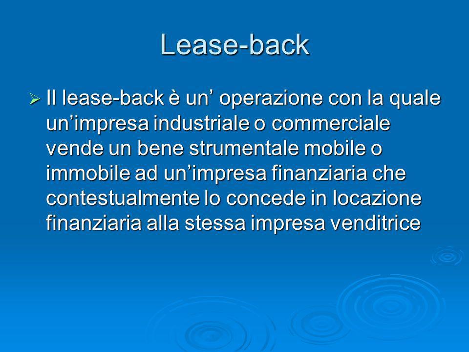 Lease-back Il lease-back è un operazione con la quale unimpresa industriale o commerciale vende un bene strumentale mobile o immobile ad unimpresa fin
