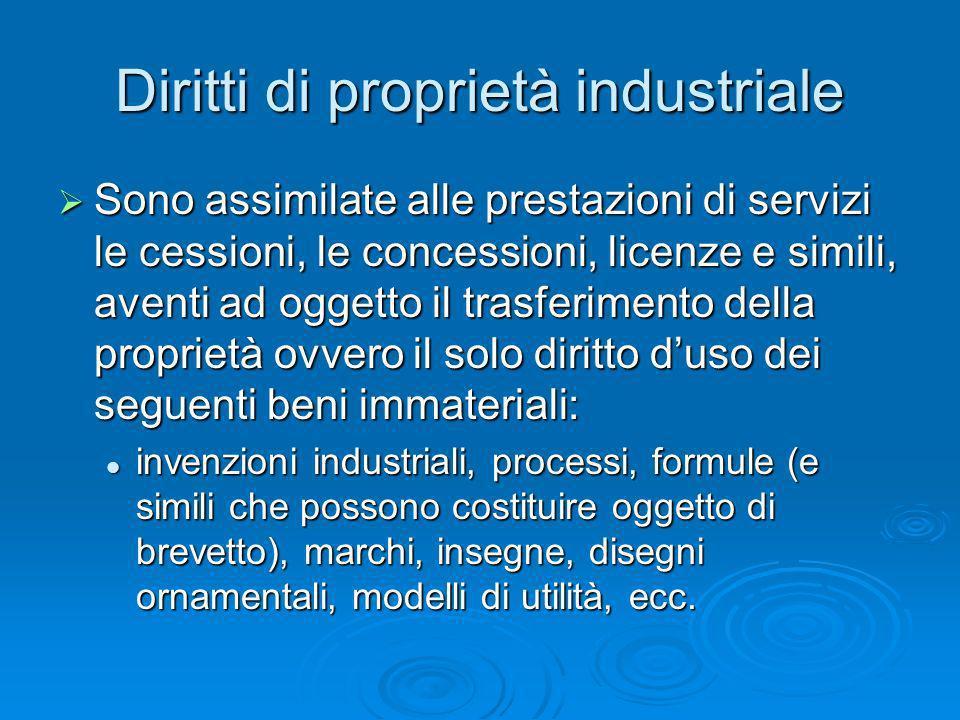 Diritti di proprietà industriale Sono assimilate alle prestazioni di servizi le cessioni, le concessioni, licenze e simili, aventi ad oggetto il trasf