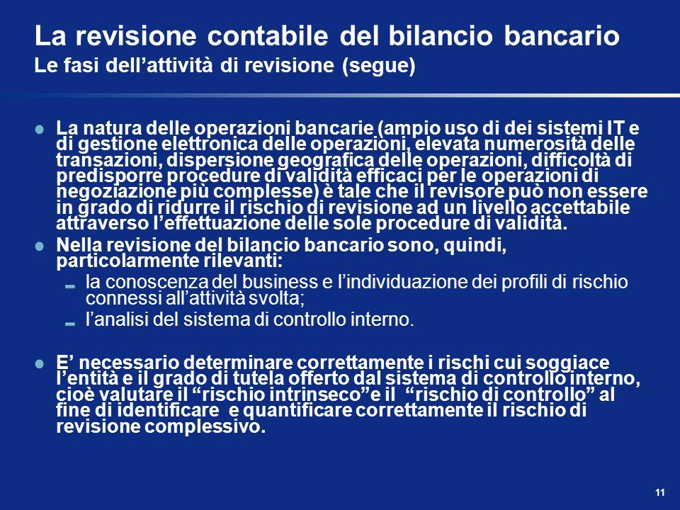 11 La revisione contabile del bilancio bancario Le fasi dellattività di revisione (segue) La natura delle operazioni bancarie (ampio uso di dei sistem