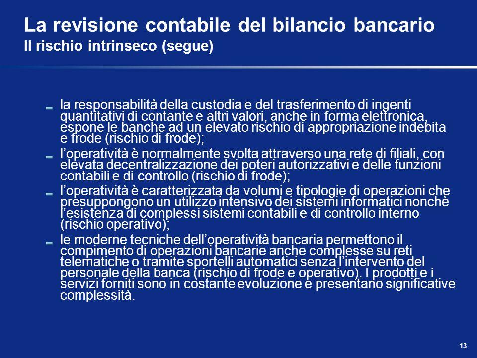 13 La revisione contabile del bilancio bancario Il rischio intrinseco (segue) la responsabilità della custodia e del trasferimento di ingenti quantita