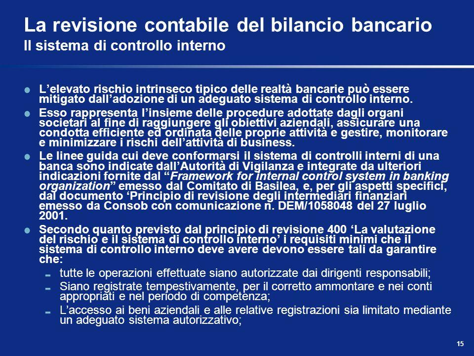 15 La revisione contabile del bilancio bancario Il sistema di controllo interno Lelevato rischio intrinseco tipico delle realtà bancarie può essere mi