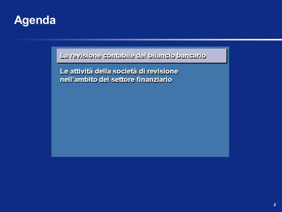 2 La revisione contabile del bilancio bancario Le attività della società di revisione nellambito del settore finanziario La revisione contabile del bi