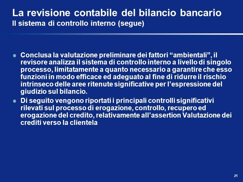21 La revisione contabile del bilancio bancario Il sistema di controllo interno (segue) Conclusa la valutazione preliminare dei fattori ambientali, il