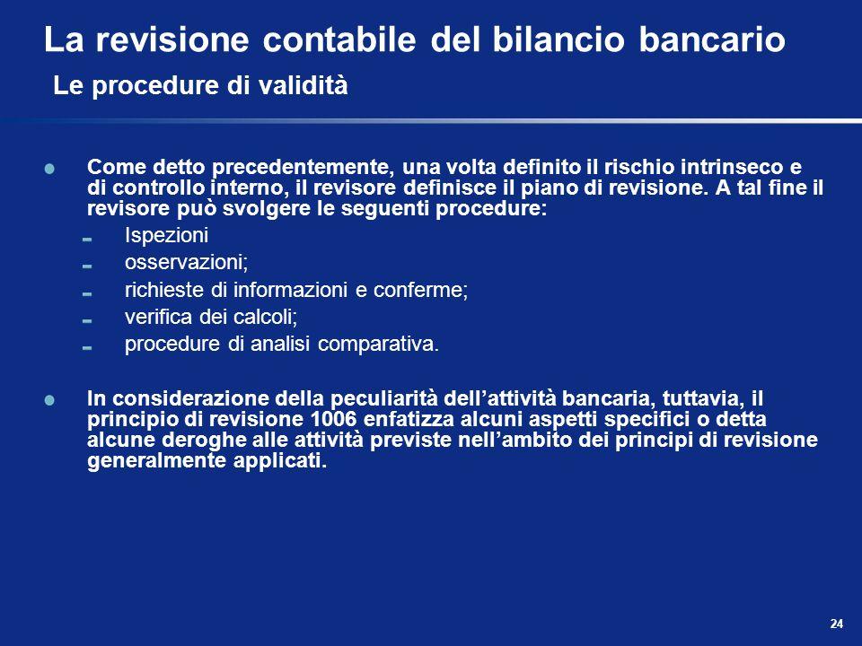 24 La revisione contabile del bilancio bancario Le procedure di validità Come detto precedentemente, una volta definito il rischio intrinseco e di con