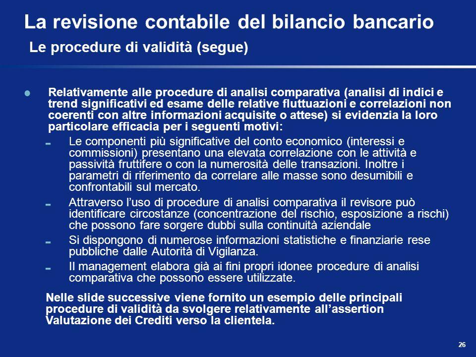 26 La revisione contabile del bilancio bancario Le procedure di validità (segue) Relativamente alle procedure di analisi comparativa (analisi di indic