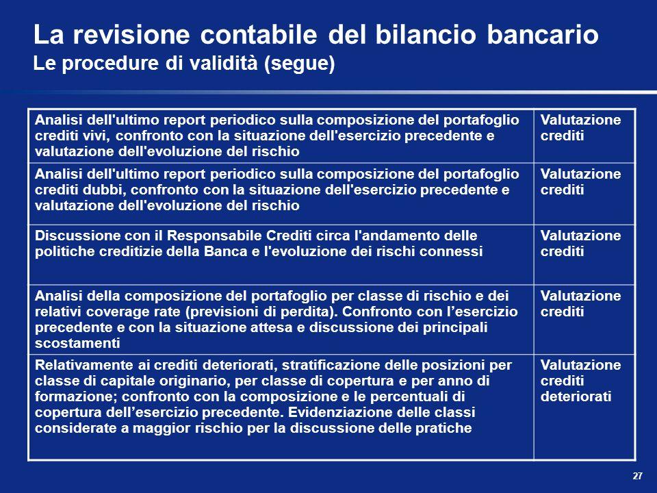 27 La revisione contabile del bilancio bancario Le procedure di validità (segue) Analisi dell'ultimo report periodico sulla composizione del portafogl