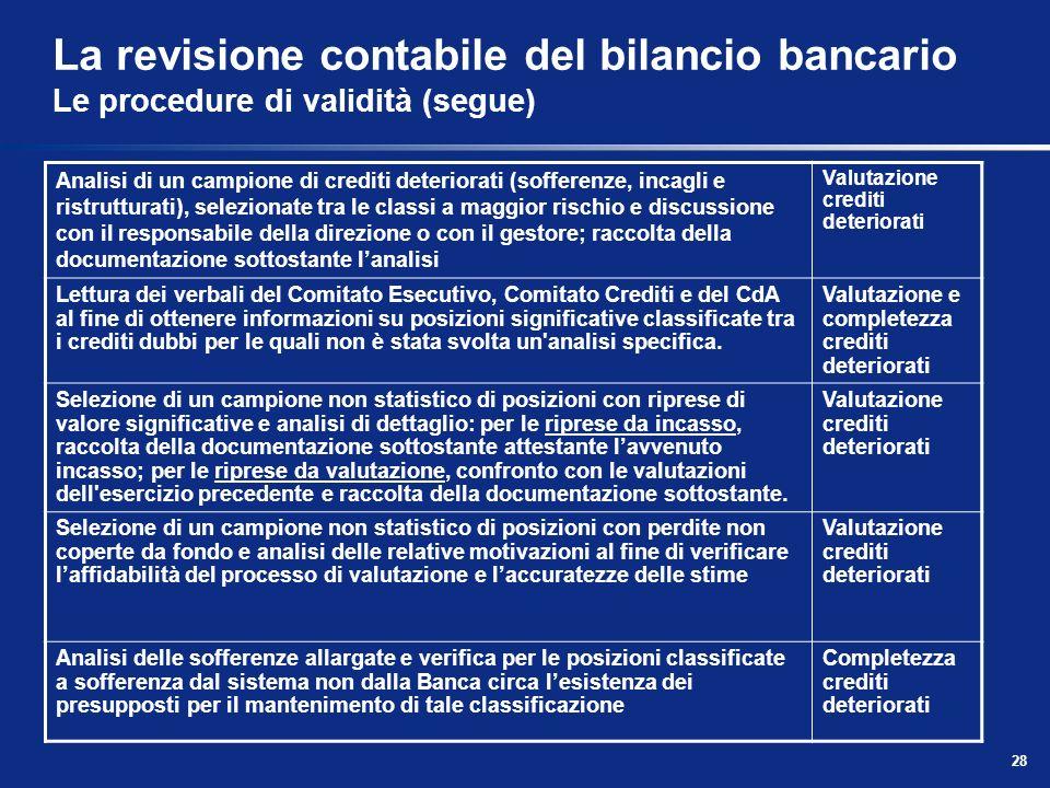 28 La revisione contabile del bilancio bancario Le procedure di validità (segue) Analisi di un campione di crediti deteriorati (sofferenze, incagli e