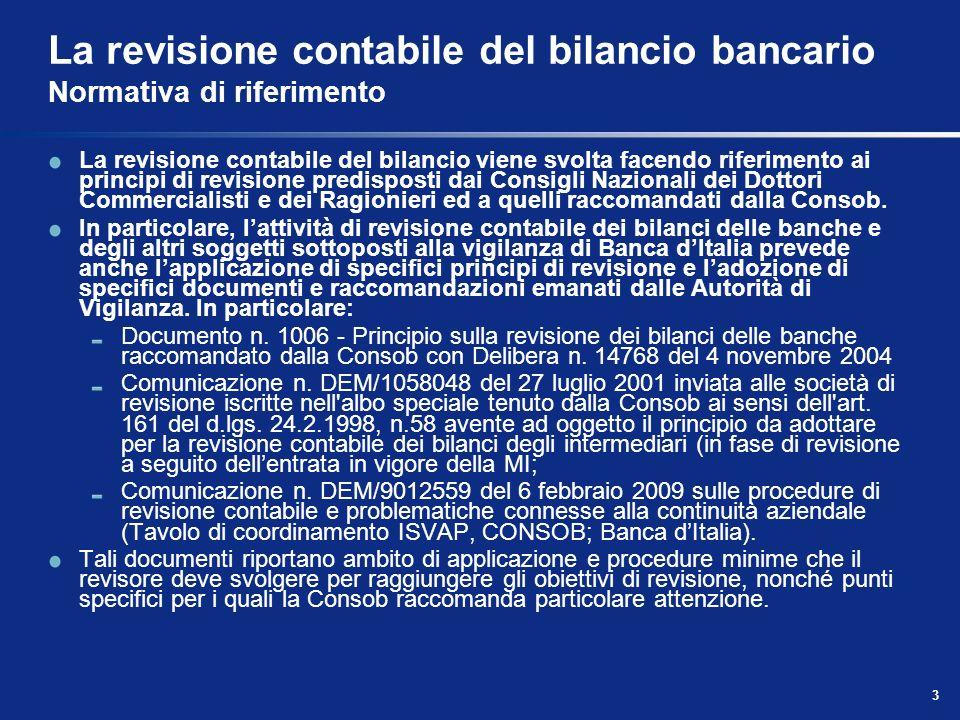3 La revisione contabile del bilancio bancario Normativa di riferimento La revisione contabile del bilancio viene svolta facendo riferimento ai princi
