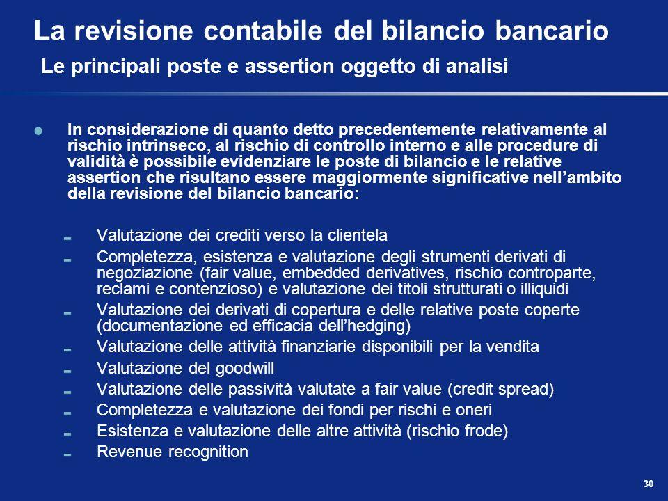 30 La revisione contabile del bilancio bancario Le principali poste e assertion oggetto di analisi In considerazione di quanto detto precedentemente r