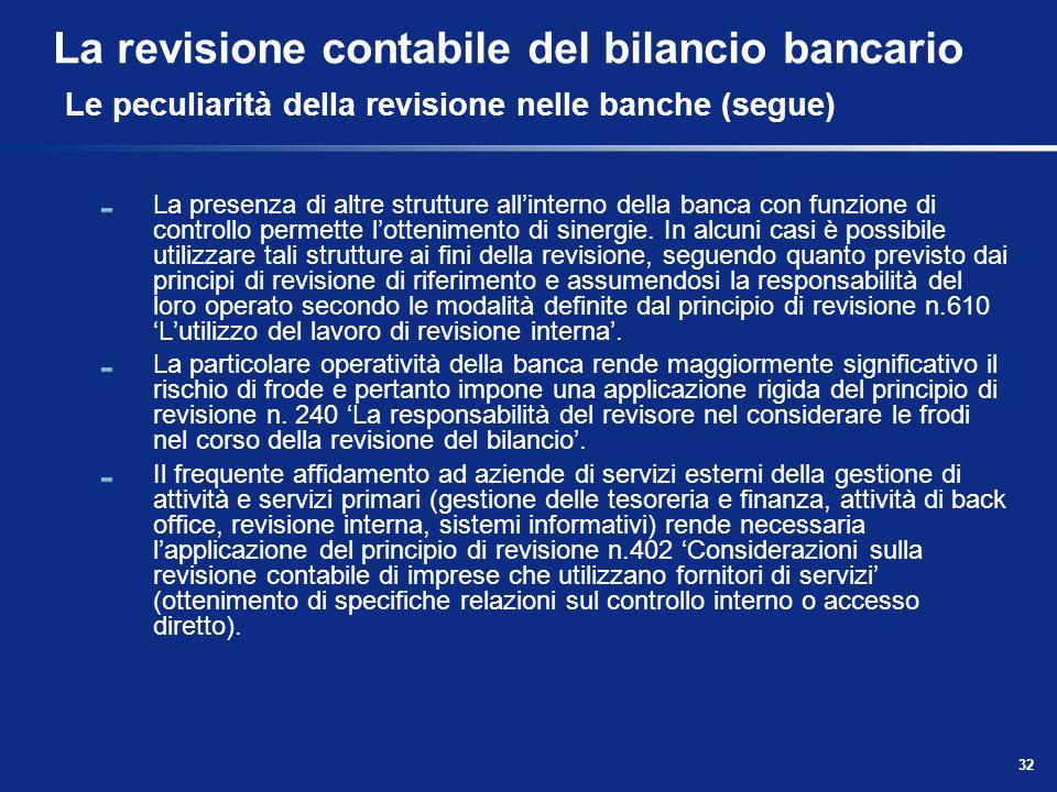 32 La revisione contabile del bilancio bancario Le peculiarità della revisione nelle banche (segue) La presenza di altre strutture allinterno della ba