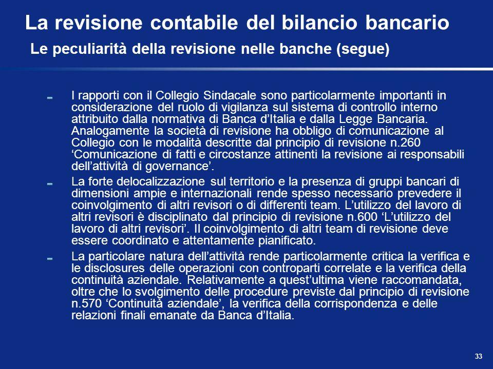 33 La revisione contabile del bilancio bancario Le peculiarità della revisione nelle banche (segue) I rapporti con il Collegio Sindacale sono particol