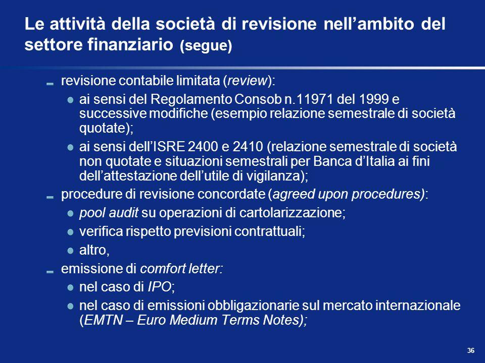 36 Le attività della società di revisione nellambito del settore finanziario (segue) revisione contabile limitata (review): ai sensi del Regolamento C