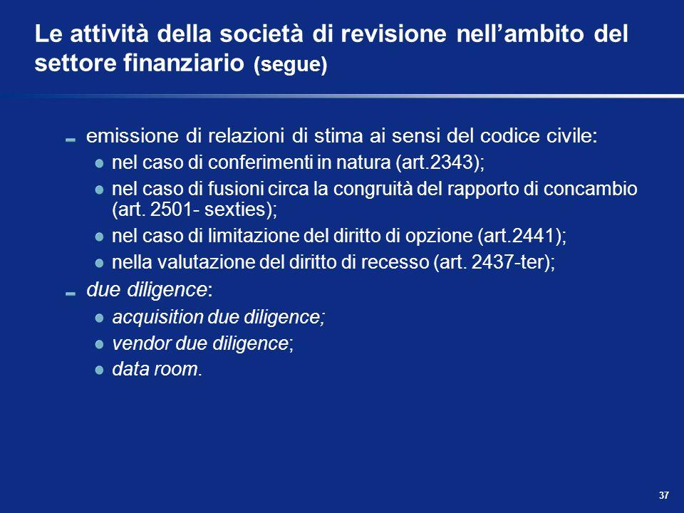 37 Le attività della società di revisione nellambito del settore finanziario (segue) emissione di relazioni di stima ai sensi del codice civile: nel c