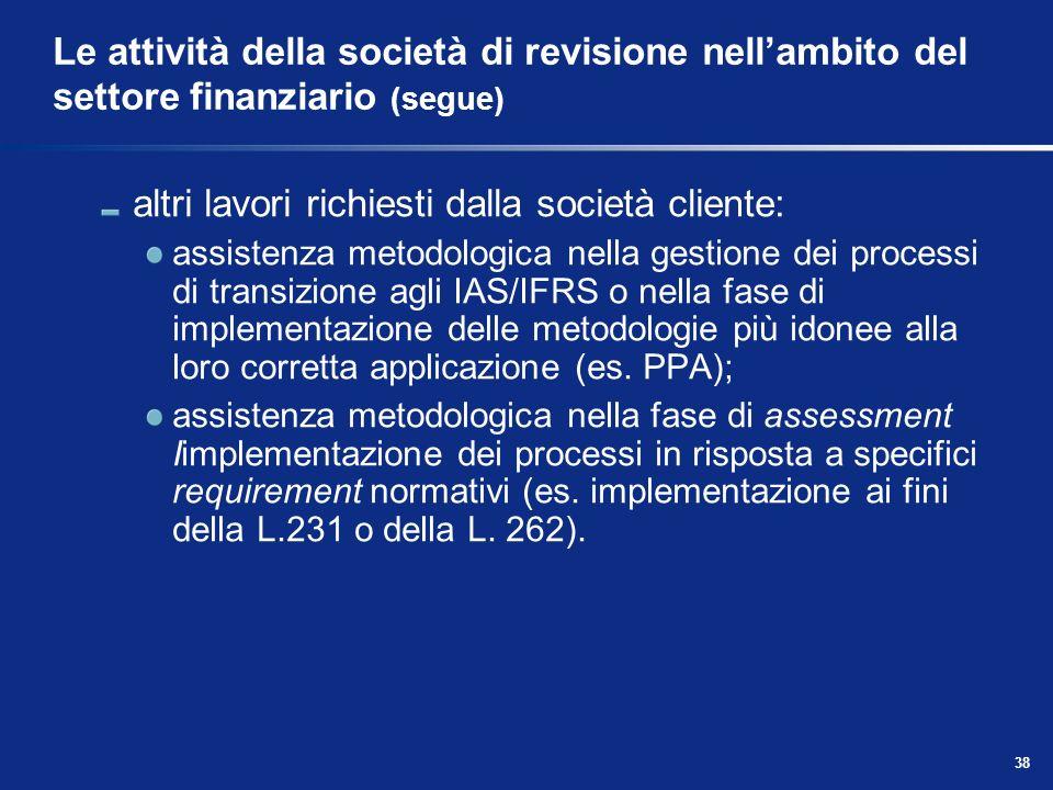 38 Le attività della società di revisione nellambito del settore finanziario (segue) altri lavori richiesti dalla società cliente: assistenza metodolo