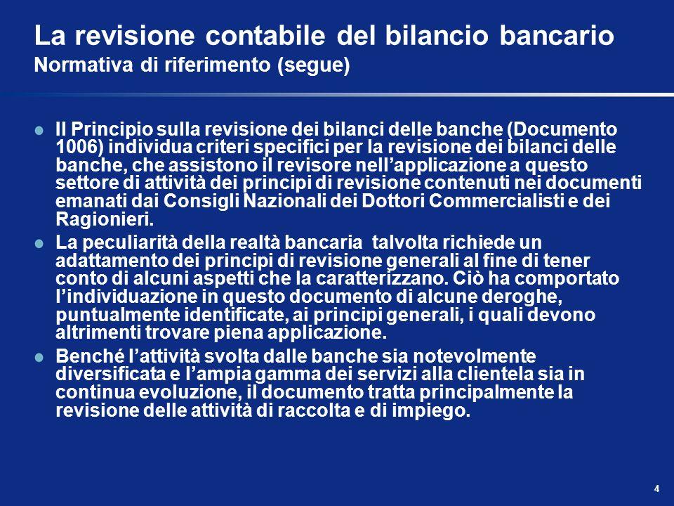 4 La revisione contabile del bilancio bancario Normativa di riferimento (segue) Il Principio sulla revisione dei bilanci delle banche (Documento 1006)