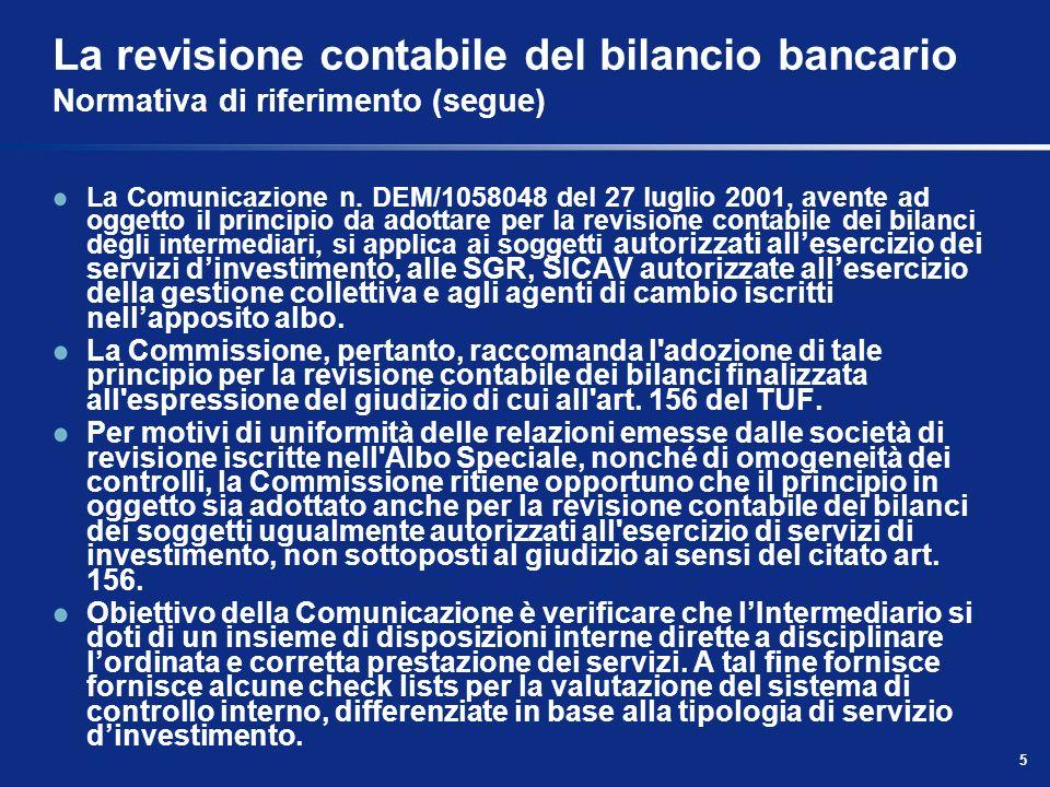 5 La revisione contabile del bilancio bancario Normativa di riferimento (segue) La Comunicazione n. DEM/1058048 del 27 luglio 2001, avente ad oggetto