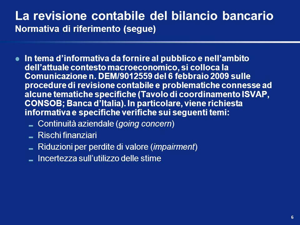 6 La revisione contabile del bilancio bancario Normativa di riferimento (segue) In tema dinformativa da fornire al pubblico e nellambito dellattuale c
