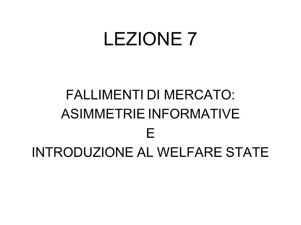 LEZIONE 7 FALLIMENTI DI MERCATO: ASIMMETRIE INFORMATIVE E INTRODUZIONE AL WELFARE STATE
