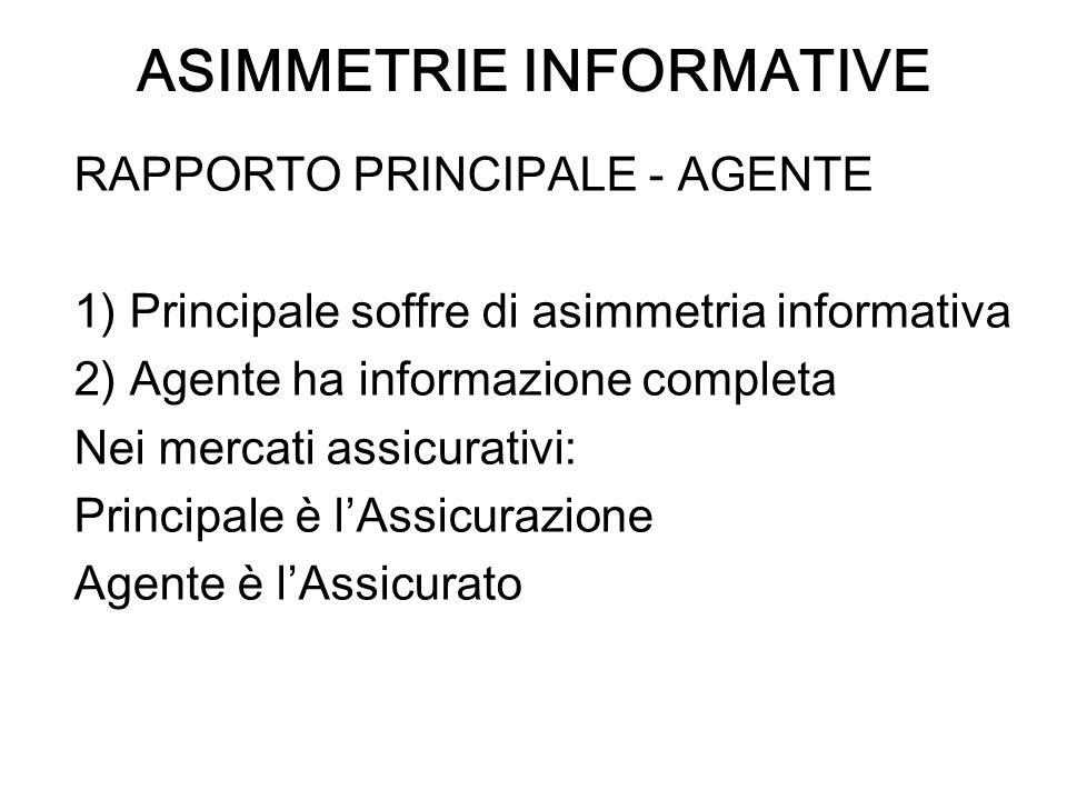 ASIMMETRIE INFORMATIVE RAPPORTO PRINCIPALE - AGENTE 1) Principale soffre di asimmetria informativa 2) Agente ha informazione completa Nei mercati assi