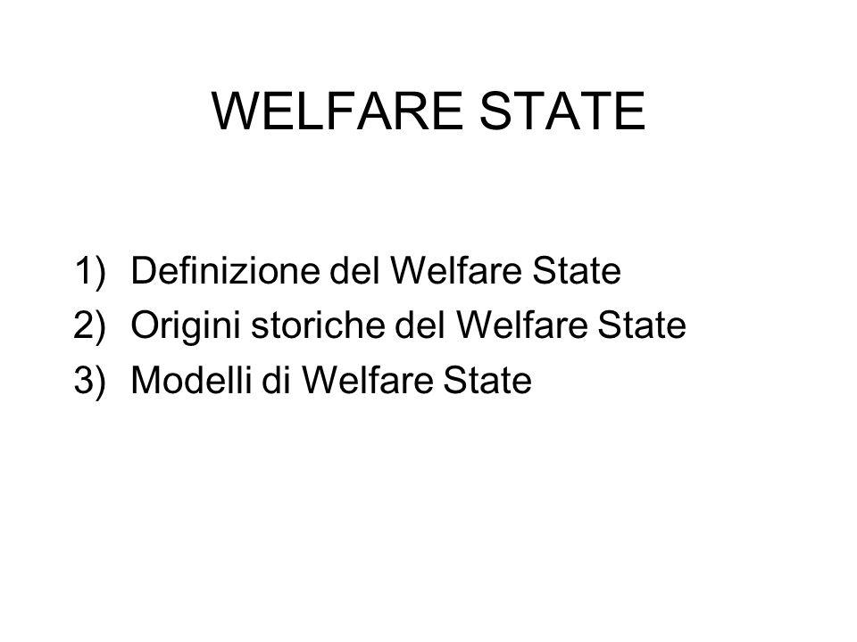 WELFARE STATE 1)Definizione del Welfare State 2)Origini storiche del Welfare State 3)Modelli di Welfare State
