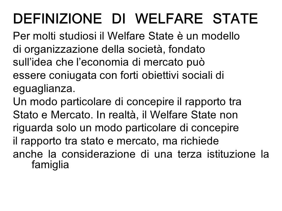 DEFINIZIONE DI WELFARE STATE Per molti studiosi il Welfare State è un modello di organizzazione della società, fondato sullidea che leconomia di merca