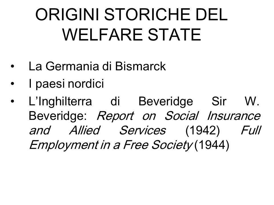 ORIGINI STORICHE DEL WELFARE STATE La Germania di Bismarck I paesi nordici LInghilterra di Beveridge Sir W. Beveridge: Report on Social Insurance and