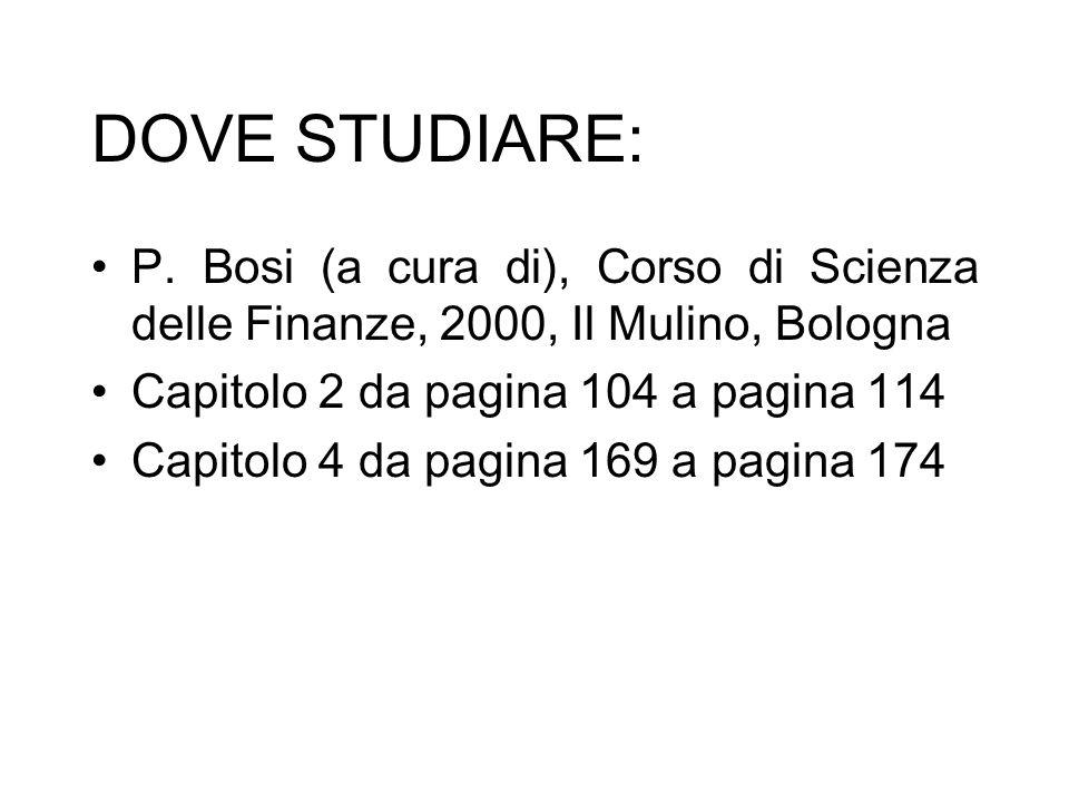 DOVE STUDIARE: P. Bosi (a cura di), Corso di Scienza delle Finanze, 2000, Il Mulino, Bologna Capitolo 2 da pagina 104 a pagina 114 Capitolo 4 da pagin