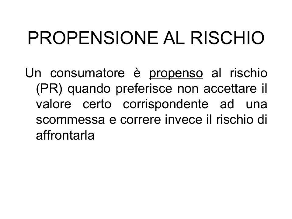 PROPENSIONE AL RISCHIO Un consumatore è propenso al rischio (PR) quando preferisce non accettare il valore certo corrispondente ad una scommessa e cor