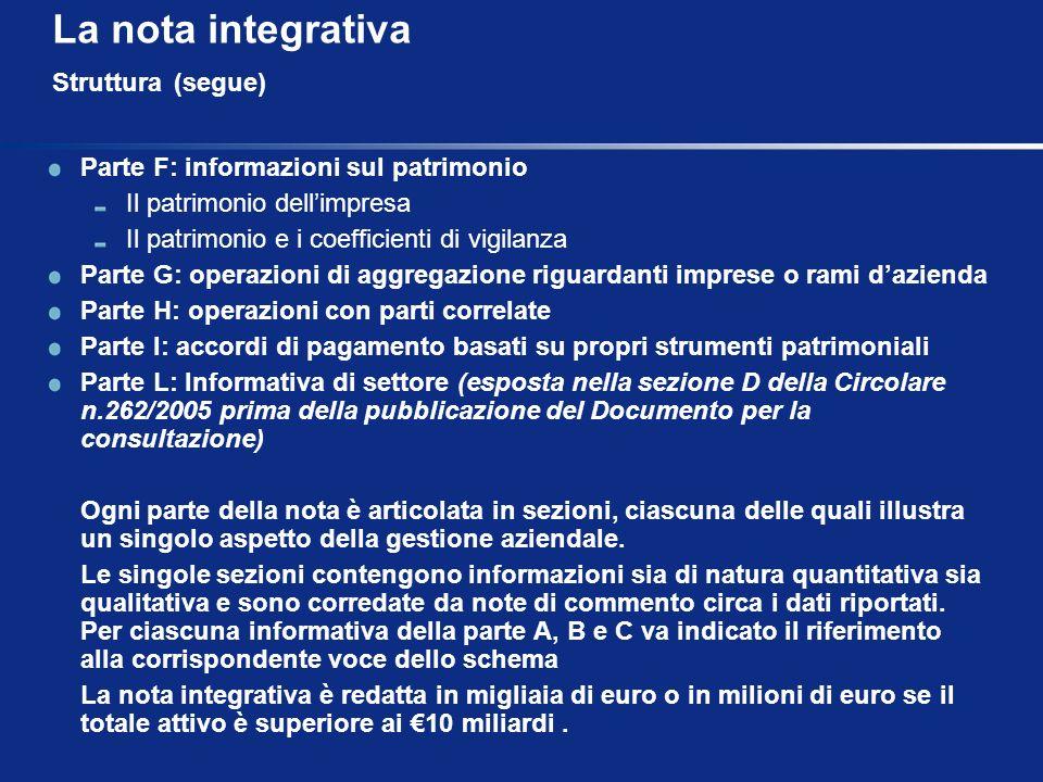 La nota integrativa Struttura (segue) Parte F: informazioni sul patrimonio Il patrimonio dellimpresa Il patrimonio e i coefficienti di vigilanza Parte